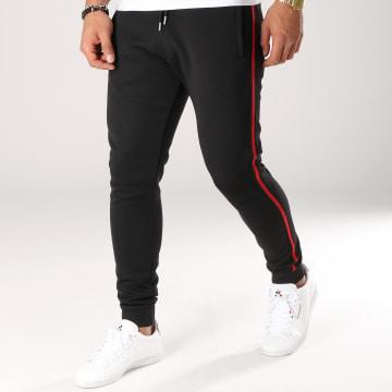 Pantalon Jogging Avec Bandes Noir et Rouge 509 Noir