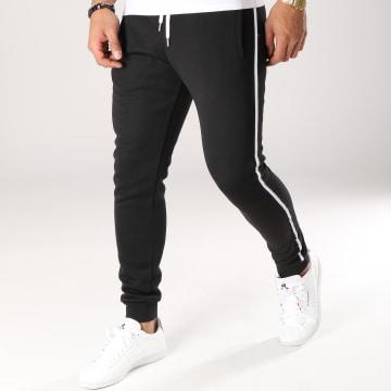 LBO - Pantalon Jogging Avec Bandes Noir et Blanche 510 Noir