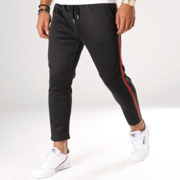 Aarhon - Pantalon Avec Bandes 18-242 Noir Rouge Vert