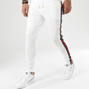 Aarhon - Pantalon Avec Bandes 18-242 Blanc Rouge Vert