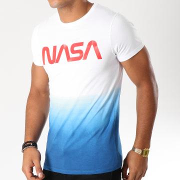 NASA - Tee Shirt Worm Logo Bleu Dégradé Blanc