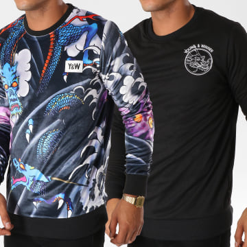 Y et W - Sweat Crewneck Réversible Velours Dragon Noir