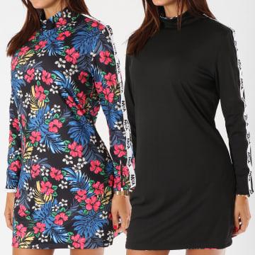 Y et W - Robe Femme Réversible Avec Bandes Flower Noir Floral