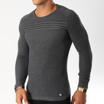 Paname Brothers - Pull 103 Gris Anthracite Chiné