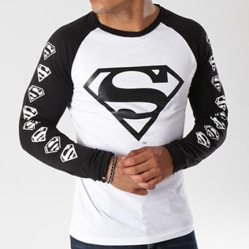 DC Comics - Tee Shirt Manches Longues Raglan Logos Blanc Noir