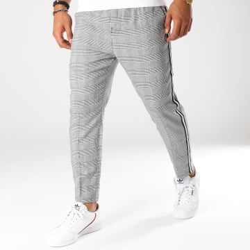 Pantalon Carreaux Avec Bandes Pywan Gris
