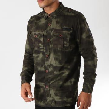 MZ72 - Chemise Manches Longues Dilitar Vert Kaki Noir Camouflage