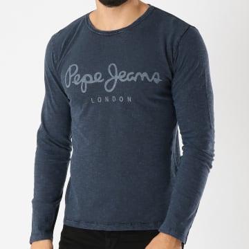 Tee Shirt Manches Longues Denim Bleu Marine