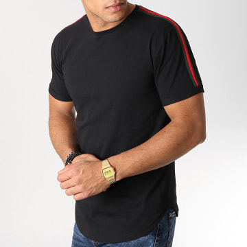 Tee Shirt Oversize Avec Bandes Noir Et Rouge 527 Noir
