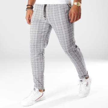 Frilivin - Pantalon A Carreaux 1405 Gris Blanc Noir