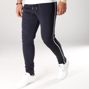 Pantalon Avec Bandes Noir et Blanche 558 Bleu Marine