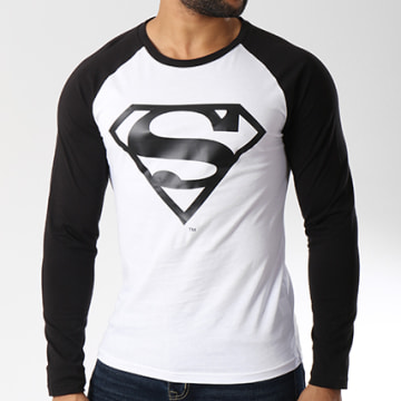DC Comics - Tee Shirt Manches Longues Logo Blanc Noir