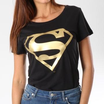 DC Comics - Tee Shirt Femme Gold Logo Noir Doré