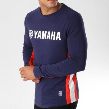 Yamaha - Tee Shirt Manches Longues Avec Bandes Long Bleu Marine Blanc Rouge