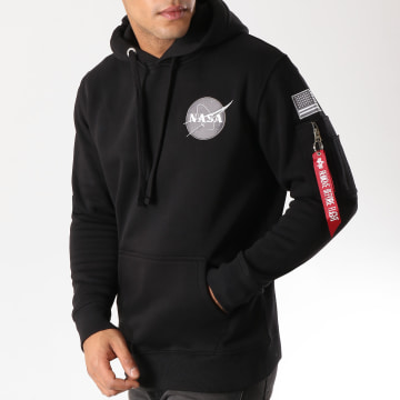 Alpha Industries - Sweat Crewneck Avec Poche Bomber Nasa Space Shuttle Noir
