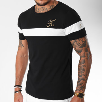 Tee Shirt Gold Label Bicolore Avec Broderie Or 106 Blanc Noir