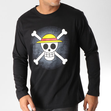 One Piece - Tee Shirt Manches Longues Skull Noir