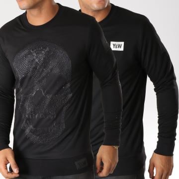 Y et W - Sweat Crewneck Réversible Black Skullz Noir