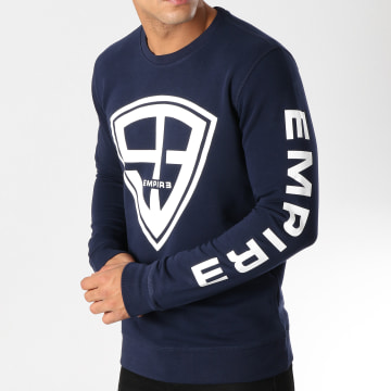 93 Empire - Sweat Crewneck 93 Empire Sleeves Bleu Marine Blanc