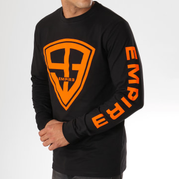 93 Empire - Tee Shirt Manches Longues 93 Empire Sleeves Noir Orange