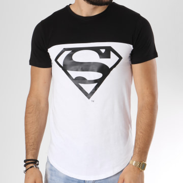 DC Comics - Tee Shirt Oversize Bicolore Logo Blanc Noir