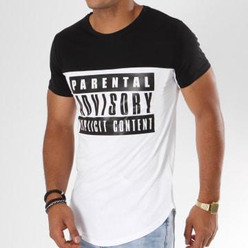 Tee Shirt Oversize Logo Bicolore Blanc Noir