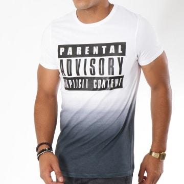 Parental Advisory - Tee Shirt Logo Dégradé Blanc Noir