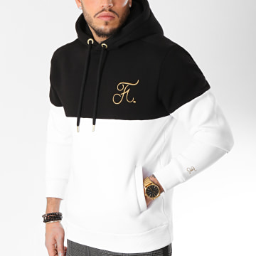 Sweat Capuche Gold Label Bicolore Avec Broderie Or 109 Noir Blanc