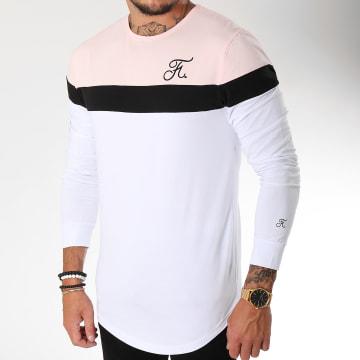 Tee Shirt Manches Longues Tricolore Avec Broderie 095 Blanc Noir Rose