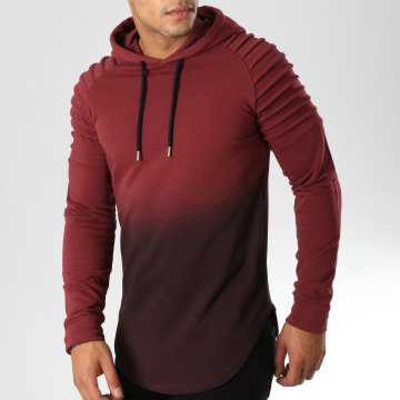 LBO - Sweat Capuche Oversize 506 Bordeaux Dégradé Noir