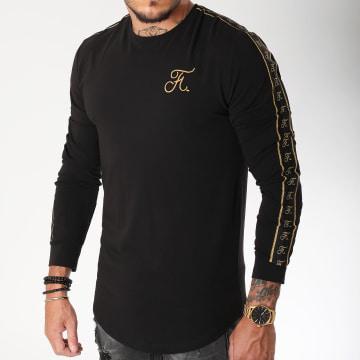 Tee Shirt Manches Longues Oversize Gold Label Avec Bandes Et Broderie Or 104 Noir