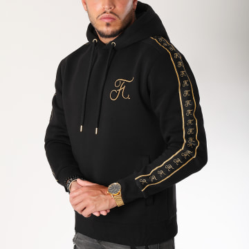 Sweat Capuche Gold Label Avec Bandes Et Broderie Or 105 Noir