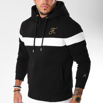 Sweat Capuche Gold Label Bicolore Avec Broderie Or 107 Noir