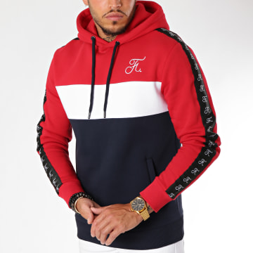 Final Club - Sweat Capuche Tricolore Avec Bandes Et Broderie 132 Bleu Blanc Rouge
