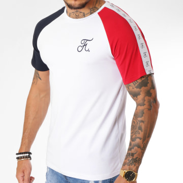 Tee Shirt Raglan Bleu Blanc Rouge Avec Bandes 135 Blanc