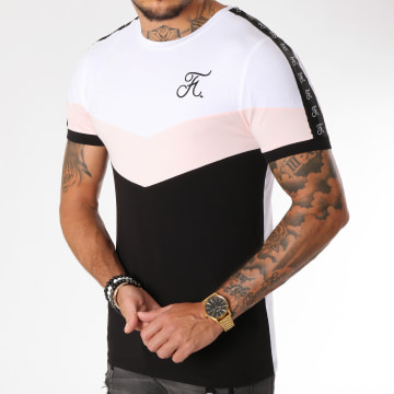 Tee Shirt Retro Tricolore 148 Rose Noir Blanc
