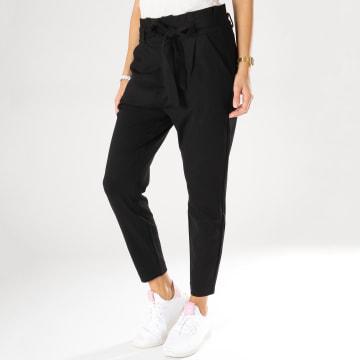 Vero Moda - Pantalon Taille Haute Femme Loose Paperbag Noir