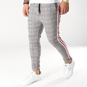 Pantalon Carreaux T3297 Noir Blanc Rouge
