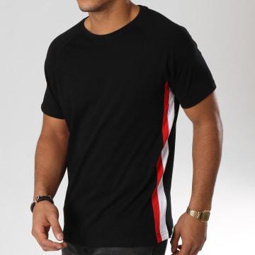 Urban Classics - Tee Shirt Avec Bandes TB2185 Noir Blanc Rouge