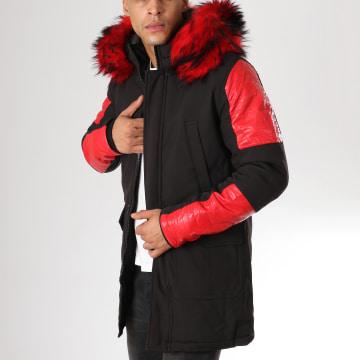 Parka Fourrure 807 Noir Rouge