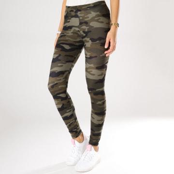 Urban Classics - Legging Femme TB1331 Vert Kaki Camouflage