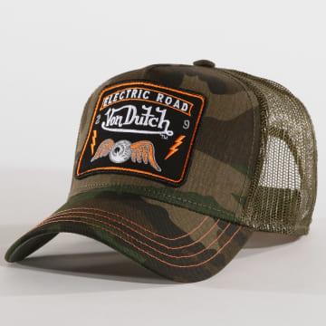 Von Dutch - Casquette Trucker Square 4B Vert Kaki Camouflage