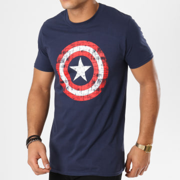 Captain America - Tee Shirt Cracked Shiel Bleu Marine