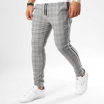 Pantalon Carreaux Avec Bandes T3296 Gris Noir Blanc
