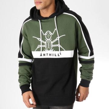 Anthill - Sweat Capuche Structure Noir Vert Kaki
