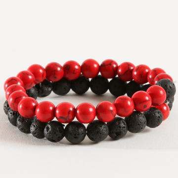 Lot De 2 Bracelets B939-2 Noir Rouge