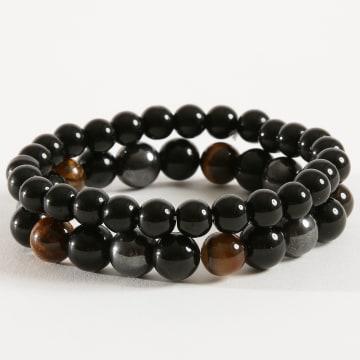 Lot De 2 Bracelets B924 Tigers Eye Noir