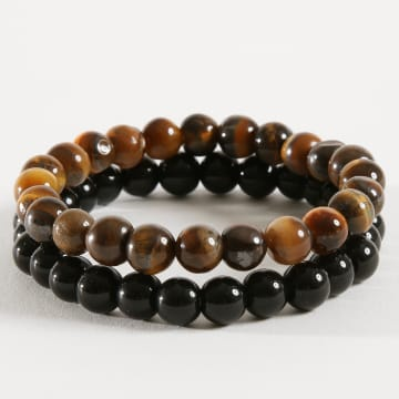 Lot De 2 Bracelets Tigers Eye Natural Noir Marron