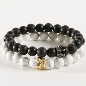 California Jewels - Lot De 2 Bracelets B920 Noir Blanc