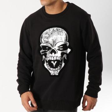 Sweat Crewneck Skull Noir Argenté